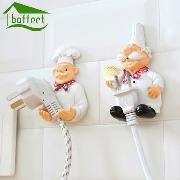 Wall Hooks Decorative New Dimensional Cartoon Chef Power Cable Plug Housing Hanger Hooks Creative Cute Strong Stick Hook