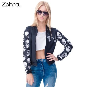 Zohra New arrival Fashion Womens Bomber Jacket Whatever Skull 3D Printed Outwear Coats University Basic Jackets