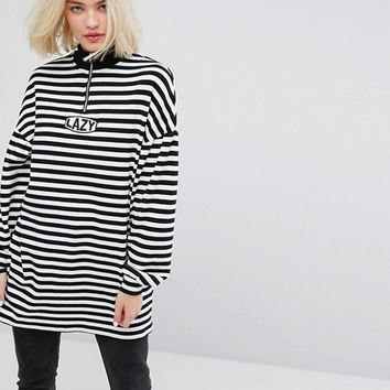 Lazy Oaf Oversized Zip Neck Sweatshirt With Lazy Embroidery In Stripe at asos.com