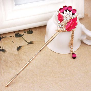 Tassels Hair Stick Step Shake Vintage Hairpins Drop Oil Flowers Hair Stick Pins Hair Accessories for Women