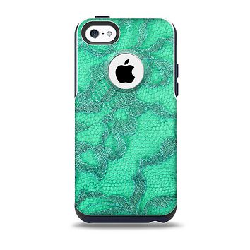 The Bright Green Textile Lace Skin for the iPhone 5c OtterBox Commuter Case