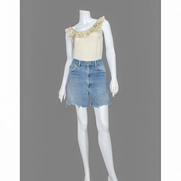 1970s Jean Shorts / 70s Cut Offs / Distressed Denim Cutoffs / Lee Blue Jean Cut Off Shorts / Boho Hippie Festival Shorts / Unisex