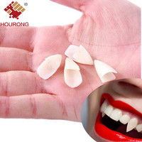 Hourong 4Pcs/set Horrific Vampire Teeth Halloween  Dentures Props Vampire Zombie Devil Fangs Teeth Party Decoration