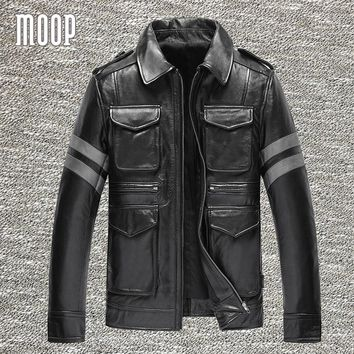 Vintage men black genuine leather coats cow leather motorcycle jackets stripe spliced manteau homme veste cuir homme LT1230