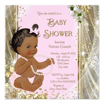 Ethnic Girl Pink Gold Pearl Baby Shower Invitation