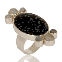 Handmade Sterling Silver Black Obsidian And Rainbow Moonstone Statement Ring