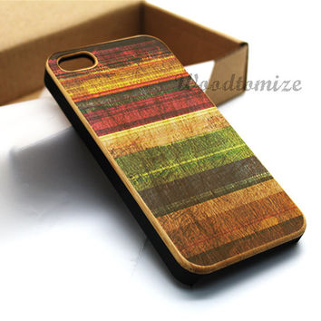 Wood print colorful rainbow case, Real wood, iPhone 5C case, iPhone 5S 5 case, Bamboo, Cherry wood, Sapele wood, FREE screen protector