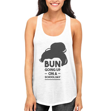 Cute Women and Girls White Tanktops Bun Going Up On A School Day Tank top