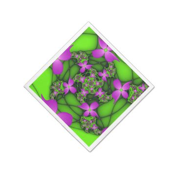 Modern Abstract Neon Pink Green Fractal Flowers Napkin