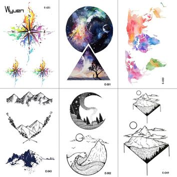 WYUEN Mountain Temporary Tattoo Sticker Planet Tattoos for Women Fashion Sexy Body Art Waterproof Arm Fake Tatoo 9.8X6cm E-043