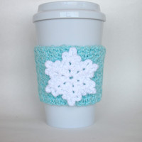 Crochet Snowflake Cup Cozy White and Robin's Egg Blue