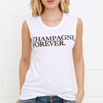 Chaser Champagne Forever Ivory Muscle Tee