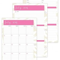 July 2015 - June 2016 Susy Jack Blomma Weekly/Monthly 3-hole Punch Planner Refill 5.5 x 8.5
