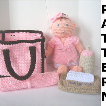 Baby Doll with Diaper Bag Crochet Pattern  by CrochetNPlayDesigns