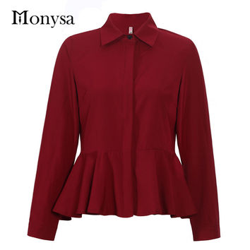 Plus Size Womens Tops Fashion  Autumn Long Sleeve Women Chiffon Blouses New Casual Peplum Top And Shirts Blue Red Black