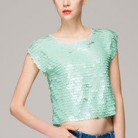 Large sequin top with sleeveless
