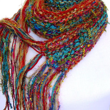 Sari Silk and Gold Hand Knit Scarf Red and Aqua Metallic Accents Hand Tied Imported Yarn