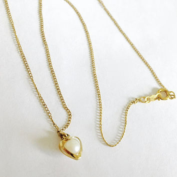 "Elegant Gold Toned Heart with encased faux Pearl on 17"" Gold Filled Chain, Heart, Pearl, Necklace, June Birthstone, Pearl Birthstone"