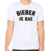 Bieber Is Bae T-Shirt - White Gray Justin Bieber Love Yourself Hipster Instagram Teen Girl Gift Song Lyric