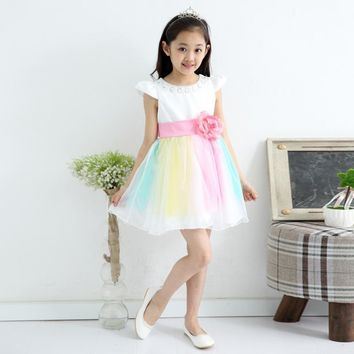 2-12 age girls cute rainbow striped dance princess dress summer kids children sequined costume party tutu vestidos clothes 457D