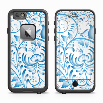Ocean Blue Popping Floral Pattern With Perched Bird Skin for the Apple iPhone LifeProof Fre Case