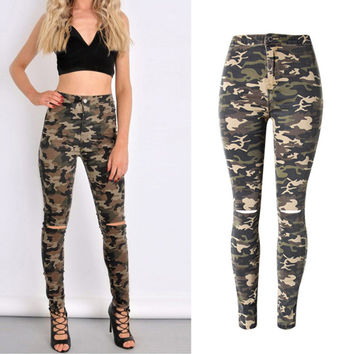 2017 New Brand Women Fitness Cloth Camouflage High Waist Elastic Stretch Holes Jeans Pencil Pants Street Style Denim Trousers