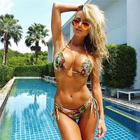 Sexy Women's Snake Skin Retro Printed Bikini Set Thong Swimwear Push-Up Padded Swimsuit Low Waist Beach Bathing Suits Swim Wear