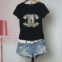 DCCKHC3 Chanel' Women Casual Fashion Sequins Letter Logo Embroidery Short Sleeve Shirt Top Tee