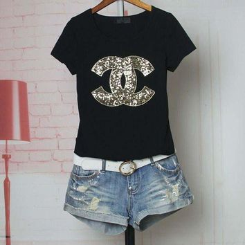 LMFXF7 Chanel' Women Casual Fashion Sequins Letter Logo Embroidery Short Sleeve Shirt Top Tee