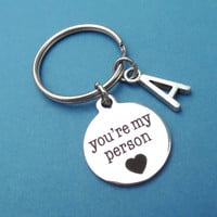 Personalized, Letter, You're my person, Keyring, Customized, Initial, Grey's Anatomy, Keychain, Key, Ring, Gift, Jewelry, Accessories