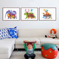 Triptych Watercolor Animals Silhouette Deer Giraffe Elephant Art Print Poster Wall Picture Canvas Painting No Frame Home Decor