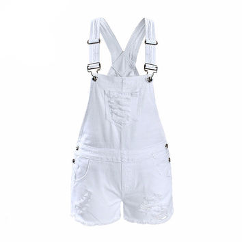 Women Ripped Denim White Overall