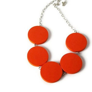 Orange Necklace. Neon Jewelry. Chunky Wood Necklace. Bright Color, Etsy Orange, Tango Tangerine Orange. Perfect Summer Fashion.