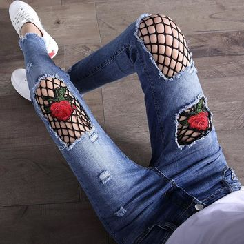 Fashion Flower Embroidery Distressed Ripped Pants Trousers Jeans