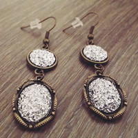 Druzy earrings-Bronze tone silver druzy drop earrings