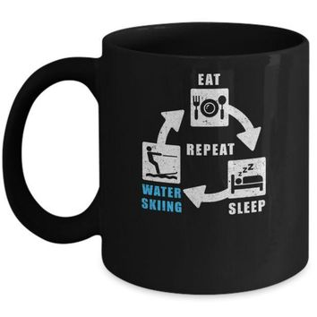 IKCKIJ3 Eat Sleep Water Skiing Repeat Funny Lake Sports Mug