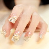 """NUMBER 19"" SILVER FASHION JAPANESE 3D NAIL ART 24 nails Sold By FATTYCAT"