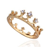 EOZY Womens 18K Gold Plated Clear Crystal Cubic Zirconia Princess Crown Finger Ring Jewelry