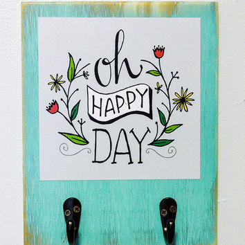 Oh Happy Day Hand-drawn Art Print with Hooks, 8 x 10, Wall Organizer, Entryway, Wedding Gift, Anniversary Gift, Birthday Gift,