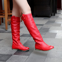 Round Toe Knee High Boots Soft Leather Shoes Woman 3303 3303
