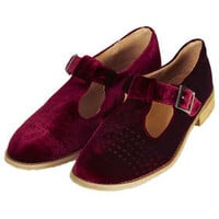 MOLLY2 Velvet T-bar Geek Shoes - Flats  - Shoes