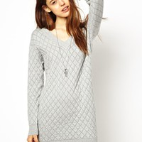 ASOS Dress In Quilted Stitch - Gray
