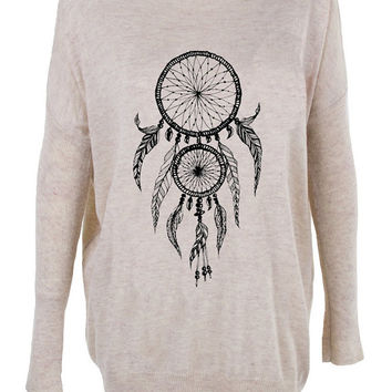 Dream Catcher print top jumper knitwear oversized top shirt womens ladies cardigan