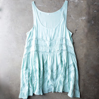 lace trim trapeze slip dress - mint