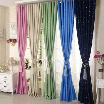 New Style Star Modern Window Curtains for Children Room Curtain Polyester Cotton Soft Room Window Blackout 100*250cm #236317