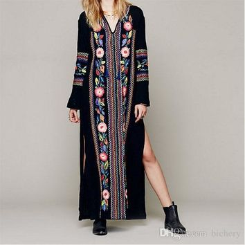 Women Long Ethnic Vintage Flower Embroidery Cotton Loose Beach Hippie Long Dresses Boho People Side Long Sleeve Maxi Dress