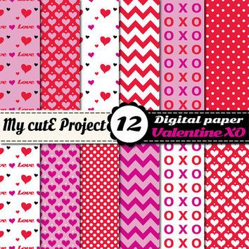 Valentine Love XO Heart  - Instant Download - Digital Paper - 12 sheets - 12X12 inches & A4 - pink, purple, red, white -Valentine's Day