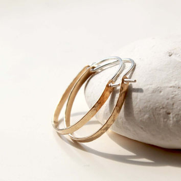Gold hoop earrings, Mixed metal handmade hoops, Simple mixed metal earrings, Gold and silver hoops, jewelry trends 2015, Anniversary gift