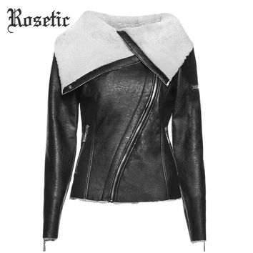 Warm Jacket Women PU Jackets Slim Lapel Zipper Plain Asymmetric Female Winter Punk Black Goth Coat