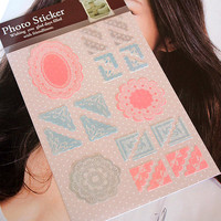 Paper Photo Corner Stickers Pink Lace Polaroid Instax Film Decoration Kawaii DIY Srapbook Album